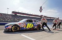 Oct. 11, 2009; Fontana, CA, USA; NASCAR Sprint Cup Series driver Greg Biffle pits during the Pepsi 500 at Auto Club Speedway. Mandatory Credit: Mark J. Rebilas-