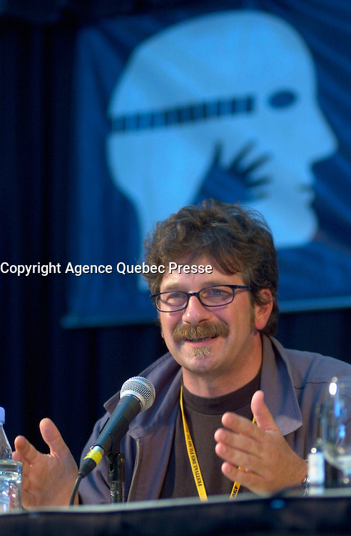 Aug 24 2002, Montreal, Quebec, Canada<br /> <br /> Alessandro d'Alatri at  the Press conference for the italian movie Casomai, presented in the Official Competition of the 26th World Film Festival.<br /> , Au g23 2002, in  Montreal, Quebec, Canada<br /> <br /> Born in Rome in 1955, Alessandro D'Alatri made his showbusiness debut at the age of eight acting in a production of The Cherry Orchard directed by Luchino Visconti. Before long, he was a veteran, playing roles in the theatre, on television and in the movies. The latter included roles in De Sica's GARDEN OF THE FINZI-CONTINIS and films by Valerio Zurlini and Ettore Scola. He began directing commercials and eventually became one of Italy's top directors of advertising films, earning prizes worldwide. He made his directorial debut in features with AMERICANO ROSSO (1991), which won that year's David di Donatello Prize for best first film in Italy. His 1994 feature, NO SKIN, was shown at the Montreal World Film Festival, and he directed THE GARDEN OF EDEN in 1998. <br /> <br /> <br /> Mandatory Credit: Photo by Pierre Roussel- Images Distribution. (&copy;) Copyright 2002 by Pierre Roussel <br /> <br /> NOTE : <br />  Nikon D-1 jpeg opened with Qimage icc profile, saved in Adobe 1998 RGB<br /> .Uncompressed  Uncropped  Original  size  file availble on request.