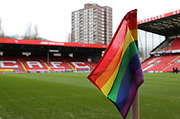 Rainbow corner flags in place as the match is dedicated to fighting homophobia and promoting a message of Football for All as part of Football v Homophobia's month of action during Charlton Athletic vs Oxford United, Sky Bet EFL League 1 Football at The Valley on 3rd February 2018