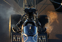 Feb. 22, 2013; Chandler, AZ, USA; NHRA top fuel dragster driver Khalid Albalooshi during qualifying for the Arizona Nationals at Firebird International Raceway. Mandatory Credit: Mark J. Rebilas-