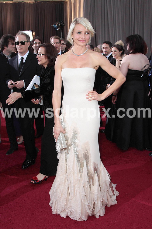 **ALL ROUND PICTURES FROM SOLARPIX.COM**                                             **SYNDICATION RIGHTS FOR UK, AUSTRALIA, DENMARK, PORTUGAL, S. AFRICA, SPAIN & DUBAI (U.A.E) & ASIA (EXCLUDING JAPAN) ONLY**                                                                                  Stars arrive at the 84th Annual Academy Awards at the Kodak Theatre, Hollywood, CA, USA...This pic: Cameron Diaz.JOB REF: 14513          PHZ/Evans      DATE:  26.02.12                                                          **MUST CREDIT SOLARPIX.COM OR DOUBLE FEE WILL BE CHARGED**                                                                      **MUST AGREE FEE BEFORE ONLINE USAGE**                               **CALL US ON: +34 952 811 768 or LOW RATE FROM UK 0844 617 7637**