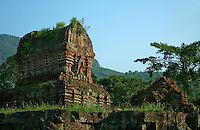 My Son was built by the Champa kingdom which ruled Vietnam from 1700AD. Influenced by Hinduism, they built temple complexes up and down the area to honor their gods and to bury their kings. My Son, developed between the 4th century and the 13th century, is one of the better-preserved of these sites. Bricks were used to build the temples without the aid of mortar.  Sculptures of gods, priests, animals, and scenes of battle and devotion adorn the walls.