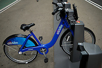 New York, USA. 28 May 2014. A Citi bike is seen in at a rental location during the one year anniversary in New York. Photo by Eduardo Munoz Alvarez/VIEWpress