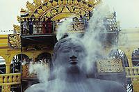 INDIA place Sravana Belagola state Karnataka , every 12 years the Jains celebrate the festival Mahamastakbisheka at the 55 feet high monolithic granite statue of Lord Bahubali and pour colored liquids and spices and powder sugar / INDIA Karnataka , Alle 12 Jahre feiern die Jainas das Festival Mahamastakbisheka in Shravana Belagola , die 17 Meter hohe Statue aus Granit ihres heiligen Bahubali oder Gommata oder Gomateshvara wird mit farbigen Fluessigkeiten Gewuerzessenzen Milch Puderzucker übergossen , Jains praktizieren als oberstes Gebot Gewaltverzicht ahimsa und sind strikte Vegetarier