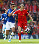 Dominic Calvert Lewin of Everton in action with Lucas Leiva of Liverpool during the English Premier League match at Anfield Stadium, Liverpool. Picture date: April 1st 2017. Pic credit should read: Simon Bellis/Sportimage
