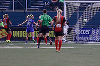 Rochester, NY - Friday May 27, 2016: Western New York Flash forward Lynn Williams (9) watches her shot beat Boston Breakers goalkeeper Jami Kranich (2). The Western New York Flash defeated the Boston Breakers 4-0 during a regular season National Women's Soccer League (NWSL) match at Rochester Rhinos Stadium.