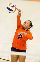 NWA Democrat-Gazette/BEN GOFF @NWABENGOFF<br /> Berenice Morales, Rogers Heritage libero, spikes the ball in the 2nd set vs Bentonville West Thursday, Sept. 13, 2018, at War Eagle Arena in Rogers.