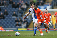 Blackpool's Viv Solomon-Otabor vies for possession with Blackburn Rovers' Richard Smallwood<br /> <br /> Photographer Andrew Kearns/CameraSport<br /> <br /> The EFL Sky Bet League One - Blackburn Rovers v Blackpool - Saturday 10th March 2018 - Ewood Park - Blackburn<br /> <br /> World Copyright &copy; 2018 CameraSport. All rights reserved. 43 Linden Ave. Countesthorpe. Leicester. England. LE8 5PG - Tel: +44 (0) 116 277 4147 - admin@camerasport.com - www.camerasport.com