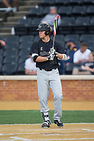 Gavin Sheets (24) of the Wake Forest Demon Deacons steps up to the plate during the game against the West Virginia Mountaineers in Game Six of the Winston-Salem Regional in the 2017 College World Series at David F. Couch Ballpark on June 4, 2017 in Winston-Salem, North Carolina.  The Demon Deacons defeated the Mountaineers 12-8.  (Brian Westerholt/Four Seam Images)