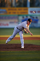 Visalia Rawhide starting pitcher Travis Moths (18) during a California League game against the San Jose Giants on April 12, 2019 at San Jose Municipal Stadium in San Jose, California. Visalia defeated San Jose 6-2. (Zachary Lucy/Four Seam Images)