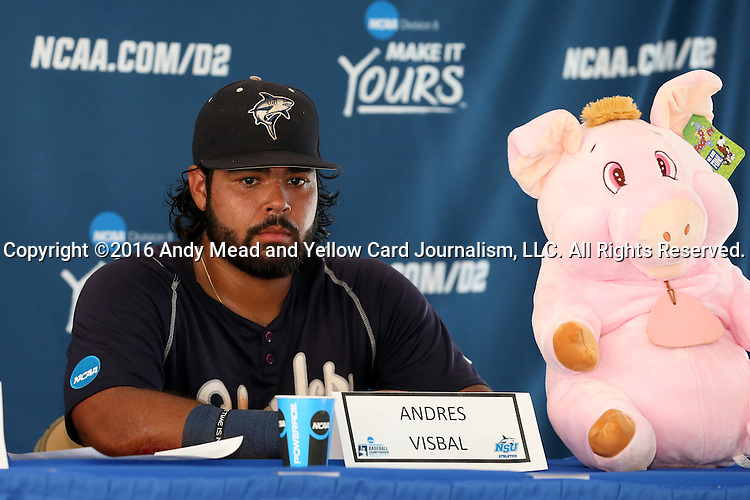 03 June 2016: Nova Southeastern's Andres Visbal during the postgame press conference. The Nova Southeastern University Sharks played the Millersville University Marauders in Game 13 of the 2016 NCAA Division II College World Series  at Coleman Field at the USA Baseball National Training Complex in Cary, North Carolina. Nova Southeastern won the first game of the best of three Championship Series 2-1.