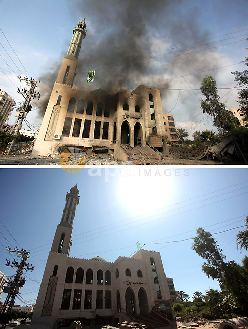 A combination of pictures made on July 7, 2015 shows (top) smoke rising from a destroyed mosque after it was hit by an Israeli air strike, on July 29, 2014, in Gaza City, and the same place (bottom) on July 7, 2015, a year after the 50-day war between Israel and Hamas' militants. Photo by Ashraf Amra