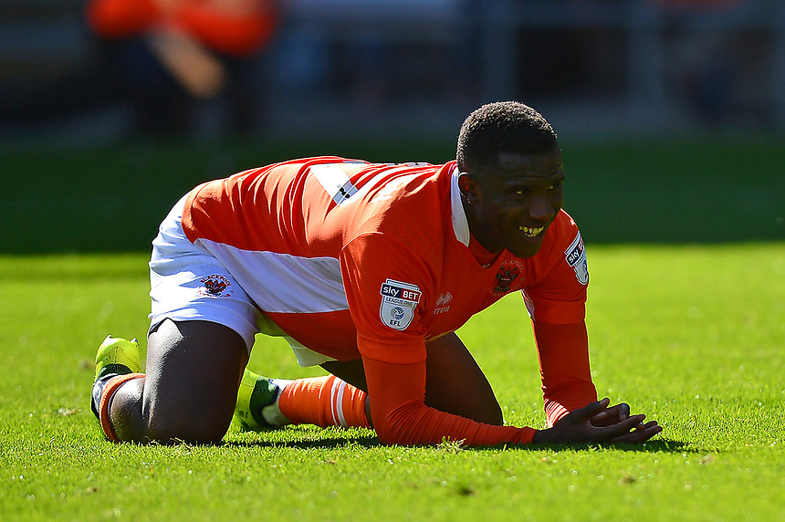 Blackpool's Viv Solomon-Otabor reacts to a missed chance <br /> <br /> Photographer Richard Martin-Roberts/CameraSport<br /> <br /> The EFL Sky Bet League One - Blackpool v Milton Keynes Dons - Saturday August 12th 2017 - Bloomfield Road - Blackpool<br /> <br /> World Copyright &copy; 2017 CameraSport. All rights reserved. 43 Linden Ave. Countesthorpe. Leicester. England. LE8 5PG - Tel: +44 (0) 116 277 4147 - admin@camerasport.com - www.camerasport.com