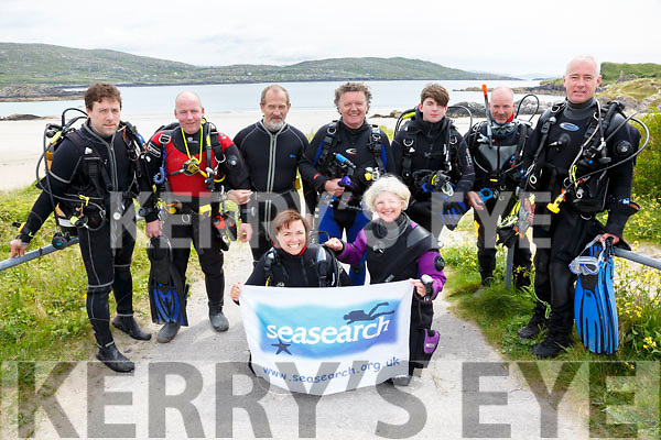 Some of the Seasearch volunteer divers who dived at Derrynane on Sunday documenting sea life and dive sites around the country, pictured here front l-r; Lucy Hunt, Charlotte Bolton, back l-r; Rory O'Callaghan, Colm Doyle, Tony O'Callaghan, Vincent Hyland, Cian Doyle, Damian Foxall & Gearóid Moran.  A Skellig Dawn Dive will take place on Sat 17th June, all divers welcome and money raised will go to Kerry Hospice, Sea Synergy Waterville will reopen today 1st June.