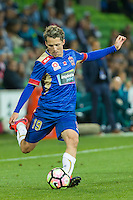 Melbourne, 10 November 2016 - MORTEN NORDSTRAND (19) of the Jets kicks the ball in the round 6 match of the A-League between Melbourne City and Newcastle Jets at AAMI Park, Melbourne, Australia. Melbourne won 2-1 (Photo Sydney Low / sydlow.com)