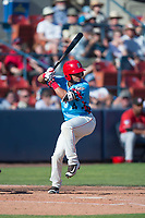 Spokane Indians second baseman Cristian Inoa (4) at bat during a Northwest League game against the Vancouver Canadians at Avista Stadium on September 2, 2018 in Spokane, Washington. The Spokane Indians defeated the Vancouver Canadians by a score of 3-1. (Zachary Lucy/Four Seam Images)