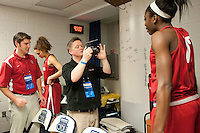 NORFOLK, VA--Team videographer Bud Anderson films a spot with Chiney Ogwumike during an off-day practice session at the Ted Constant Convocation Center at Old Dominion University in Norfolk, VA in the 2012 NCAA Championships. The Cardinal will play West Virginia on Monday, March 19 to qualify for the West Regionals in Fresno.