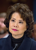 """United States Secretary of Transportation Elaine Chao testifies before the United States Senate Committee on Commerce, Science, and Transportation on """"Rebuilding Infrastructure in America: Administration Perspectives"""" on Capitol Hill in Washington, DC on Wednesday, March 14, 2018.<br /> Credit: Ron Sachs / CNP"""