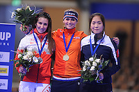 SCHAATSEN: BERLIJN: Sportforum Berlin, 07-12-2014, ISU World Cup, Podium Mass Start Ladies, Ivanie Blondin (CAN), Irene Schouten (NED), Ye Jin Jun (KOR), ©foto Martin de Jong