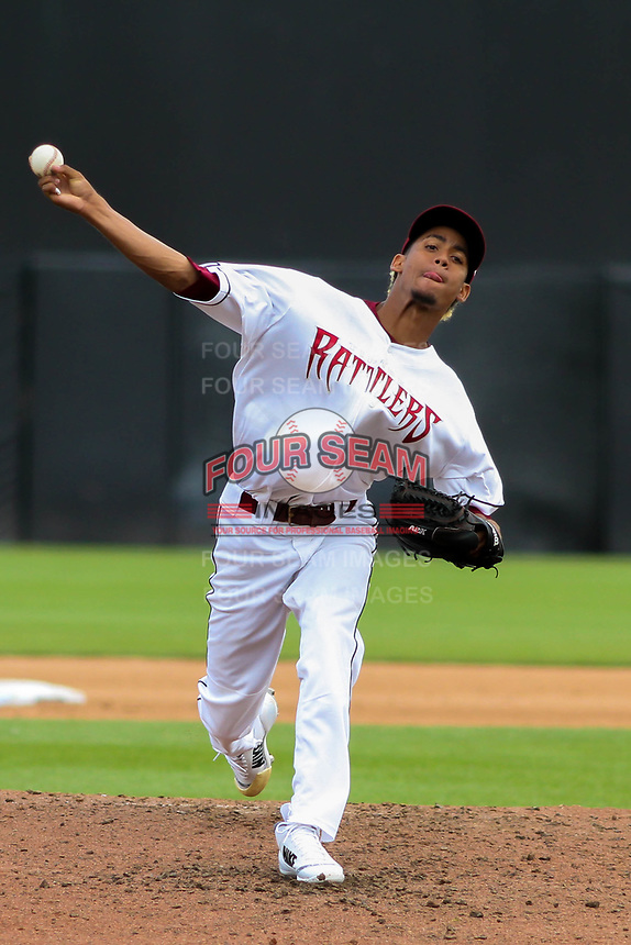 Wisconsin Timber Rattlers pitcher Carlos Herrera (16) delivers a pitch during a Midwest League game against the Bowling Green Hot Rods on July 23, 2018 at Fox Cities Stadium in Appleton, Wisconsin. Wisconsin defeated Bowling Green 5-3. (Brad Krause/Four Seam Images)