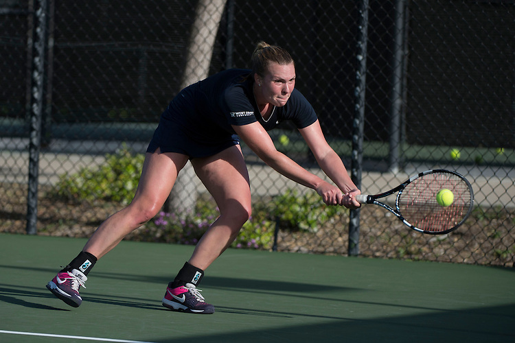 April 23, 2014; San Diego, CA, USA; Gonzaga Bulldogs player Franziska Koehler during the WCC Tennis Championships at Barnes Tennis Center.