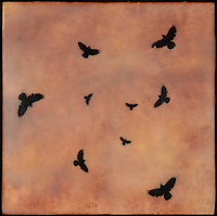 Orange and red sunset sky encaustic mixed media photography of birds