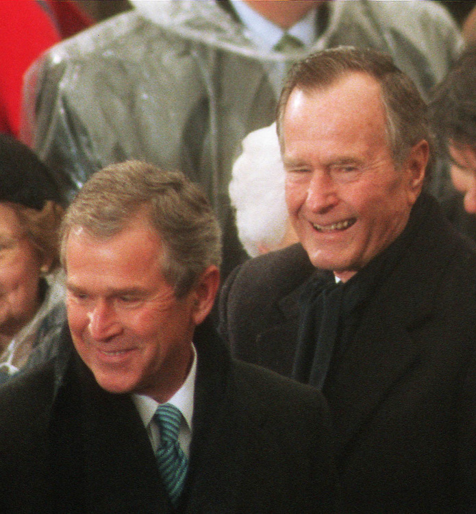 1/20/01.INAUGURATION--President George W. Bush and his father, former President George Bush..CONGRESSIONAL QUARTERLY PHOTO BY SCOTT J. FERRELL