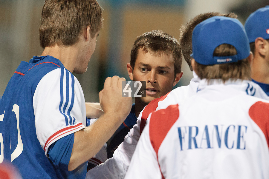 17 August 2010: Brice Lorienne of Team France is congratulated during the Czech Republic 4-3 win over France, at the 2010 European Championship, under 21, in Brno, Czech Republic.