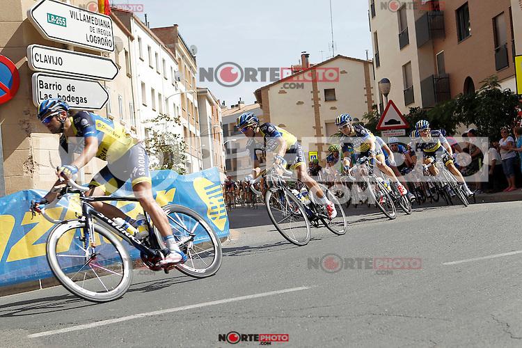 Benjamin Noval and Alberto Contador leading the group during the stage of La Vuelta 2012 between Logroño and Logroño.August 22,2012. (ALTERPHOTOS/Acero) /NortePhoto.com<br /> <br /> **SOLO*VENTA*EN*MEXICO**<br /> **CREDITO*OBLIGATORIO**<br /> *No*Venta*A*Terceros*<br /> *No*Sale*So*third*<br /> *** No Se Permite Hacer Archivo**<br /> *No*Sale*So*third*