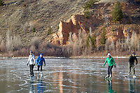 Ice skaters, hockey game, Frozen Lake, Jackson Hole, Wyoming