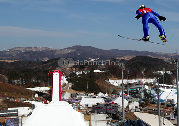 Ski jumper Richard Freitag from Germany in the Alpensia Ski Jumping Centre in Pyeongchang, South Korea, 07 February 2018. The Pyeongchang 2018 Winter Olympics take place between 09 and 25 February. Photo: Daniel Karmann/dpa /MediaPunch ***FOR USA ONLY***