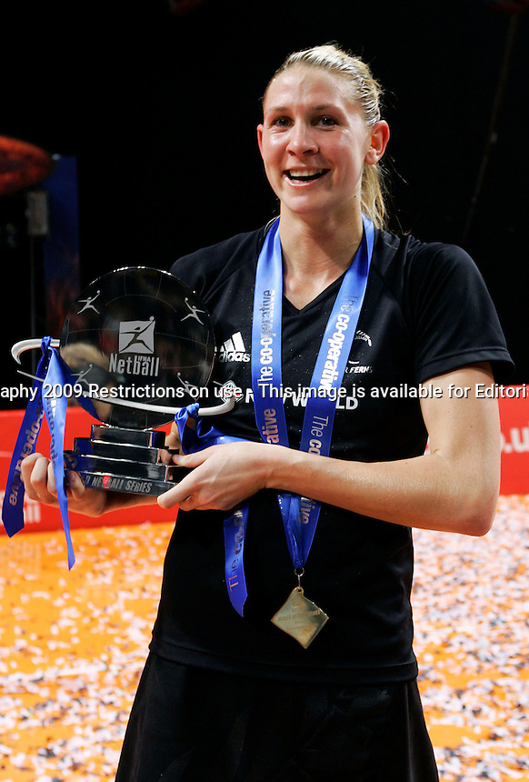 11.10.2009 Silver Ferns captain Casey Williams with the trophy after beating Jamaica in the World Netball Series final in Manchester, England. Mandatory Photo Credit (Pic: Tim Hales). ©Michael Bradley Photography.