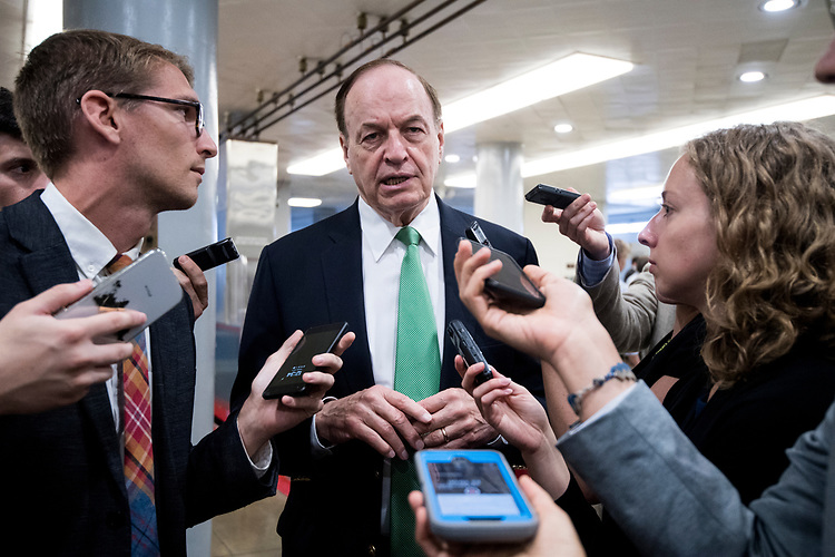 UNITED STATES - JULY 31: Sen. Richard Shelby, R-Ala., speaks with reporters at the Senate subway in the Capitol on Tuesday, July 31, 2018. (Photo By Bill Clark/CQ Roll Call)