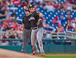 19 September 2015: Miami Marlins infielder Derek Dietrich in action against the Washington Nationals at Nationals Park in Washington, DC. The Marlins fell to the Nationals 5-2 in the third game of their 4-game series. Mandatory Credit: Ed Wolfstein Photo *** RAW (NEF) Image File Available ***