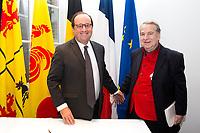 François Hollande meets with Paul-Loup Sulitzer & Elio Di Rupo in Mons - Belgium