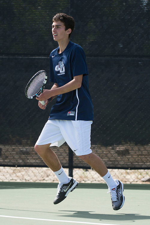 April 23, 2014; San Diego, CA, USA; Gonzaga Bulldogs player Pablo Mosquera during the WCC Tennis Championships at Barnes Tennis Center.