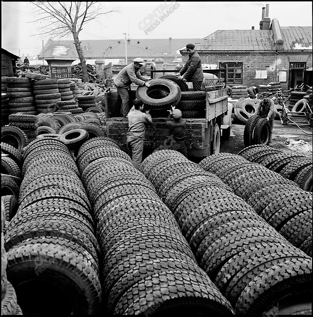 Tires for tractors produced by Heihe Farming Machine Factory, Heilongjiang province, China, September 10, 1977