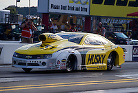 Sep 13, 2013; Charlotte, NC, USA; NHRA pro stock driver Erica Enders-Stevens during qualifying for the Carolina Nationals at zMax Dragway. Mandatory Credit: Mark J. Rebilas-
