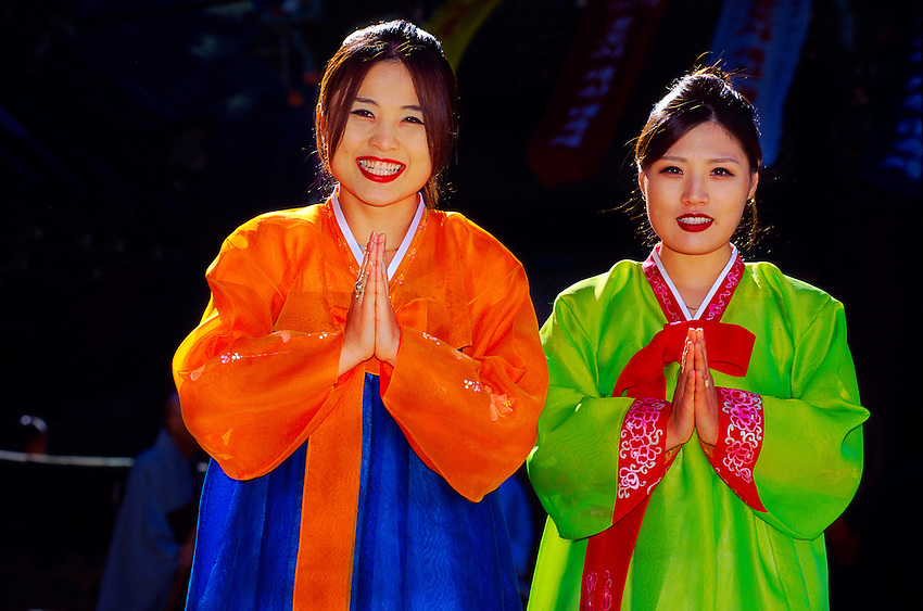 "Korean women wearing traditional ""Hanbok"" costume, Tongdosa Temple, north of Pusan, South Korea"
