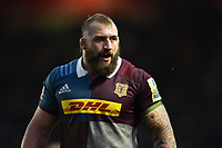 Joe Marler of Harlequins looks on during a break in play. Aviva Premiership match, between Harlequins and Wasps on April 28, 2017 at the Twickenham Stoop in London, England. Photo by: Patrick Khachfe / JMP