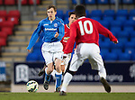St Johnstone Academy v Manchester United Academy....17.04.15   <br /> Jamie Docherty is closed down by Angel Gomes<br /> Picture by Graeme Hart.<br /> Copyright Perthshire Picture Agency<br /> Tel: 01738 623350  Mobile: 07990 594431