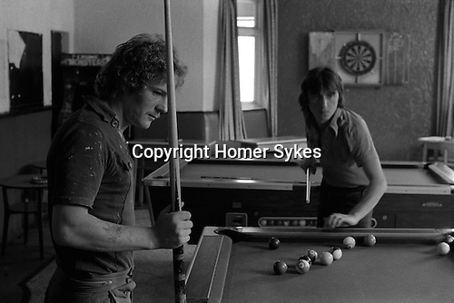 Young miners playing pool.  South Kirkby Colliery, Yorkshire England. Coal Miners story 1979. IF YOU KNOW THE NAMES OF ANY OF THE MEN IN THESE IMAGES PLEASE LET ME KNOW, I WOULD LIKE TO BE ABLE TO PUT A NAME TO A FACE. THANKS.