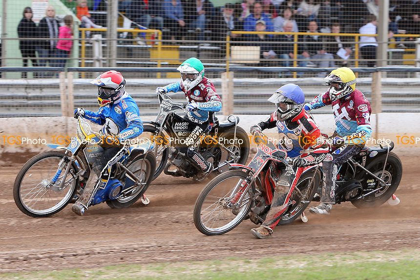Heat 10: Jarek Hampel (red), Lee Richardson (green), Morten Risager (blue) and Kauko Nieminen (yellow) - Ipswich Witches vs Lakeside Hammers - Sky Sports Elite League Speedway at Foxhall Stadium, Ipswich, Suffolk  - 10/04/09 - MANDATORY CREDIT: Gavin Ellis/TGSPHOTO - Self billing applies where appropriate - 0845 094 6026 - contact@tgsphoto.co.uk - NO UNPAID USE.