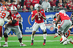 Ohio State Buckeyes quarterback Justin Fields (1) in the pocket during the Fiesta Bowl game against the Clemson Tigers on Saturday, Dec 28, 2019 in Glendale, Ariz.  (Gene Lower via AP)