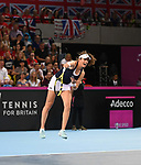 Johanna Konta (Great Britain) serves. Rubber 1. World group II play off in the BNP Paribas Fed Cup. Copper Box arena. Queen Elizabeth Olympic Park. Stratford. London. UK. 20/04/2019. ~ MANDATORY Credit Garry Bowden/Sportinpictures - NO UNAUTHORISED USE - 07837 394578