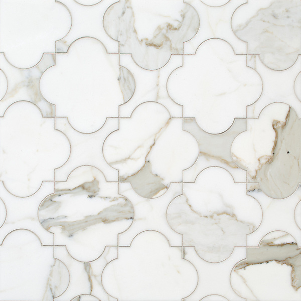 Mallorca, a waterjet stone mosaic, shown in polished Calacatta Gold, is part of the Miraflores Collection by Paul Schatz for New Ravenna.