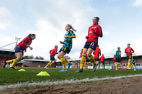 Arsenal players warm up during Brighton & Hove Albion Women vs Arsenal Women, Barclays FA Women's Super League Football at Broadfield Stadium on 12th January 2020