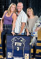 Florida International University retired women's volleyball player Yarimar  Rosa's number and her parents after the game against Western Kentucky University.  Western Kentucky won the match 3-0 on September 30, 2011 at Miami, Florida. .