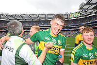 David Clifford celebrates on winning the All-Ireland Minor final at Croke on Sunday.<br /> Photo: Don MacMonagle