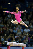22nd March 2018, Arena Birmingham, Birmingham, England; Gymnastics World Cup, day two, womens competition; Margzetta Frazier (USA) on the Balance Beam during her competition routine